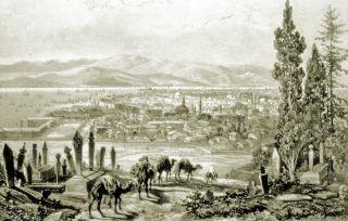 XIX. yüzyılın son çeyreğinde İzmir'i gösteren bir gravür (J. Schranz, Le Bosphore et Constantinople, Paris 1855)