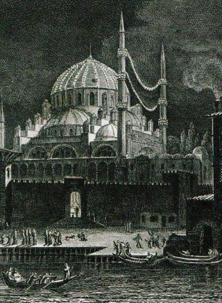 A. L. Castellan'ın çizdiği, ramazanda mahya kurulmuş Eminönü Yeni Valide Camii'ni gösteren XIX. yüzyılın başlarına ait gravür(Castellan, Lettres sur la Grèce, l'Hellespont et Constantinople, Paris 1811, levha 5)