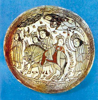 Selçuklu prensesini nedimeleriyle tasvir eden XII. yüzyılın ikinci yarısına ait Kâşân'da imal edilmiş seramik çanak (New York Metropolitan Museum)