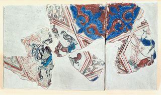 XII. yüzyıla ait figürlü Selçuklu çinisinin parçaları (İstanbul Arkeoloji Müzeleri, Çinili Köşk, Envanter nr. 41/1448, 1489)