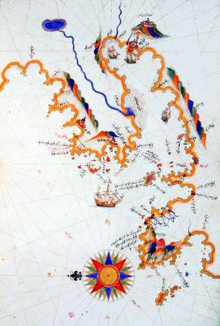 Pîrî Reis'in Kitâb-ı Bahriyye'sindeki İzmir haritası (İÜ Ktp., TY, nr. 6605, vr. 80a)