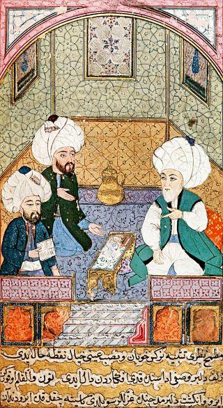 Âşık Çelebi tezkiresindeki bir minyatürde Bâkî Şeyhülislâm Ebüssuûd Efendi ve Nev'î ile birlikte (Millet Ktp., Ali Emîrî, nr. 772, vr. 159a)