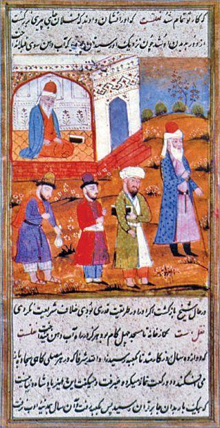 Bâyezid-i Bistâmî'yi mescide giderken tasvir eden bir minyatür (Oriental Miniatures..., Taşkent 1980, rs. 64)
