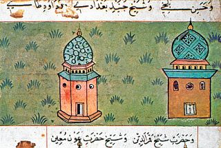 Cüneyd-i Bağdâdî'nin türbesinin minyatürü (Matrakçı Nasuh, Beyân-ı Menâzil-i Sefer-i Irâkeyn, İÜ Ktp., TY, nr. 5964, vr. 55a)