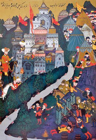 Haçlılar'ın Niğbolu Kalesi'ni kuşatması ve Yıldırım Bayezid'in kalenin önüne gelişini tasvir eden minyatür (Seyyid Lokmân, Hünernâme, I, TSMK, Hazine, nr. 1523, vr. 108b)